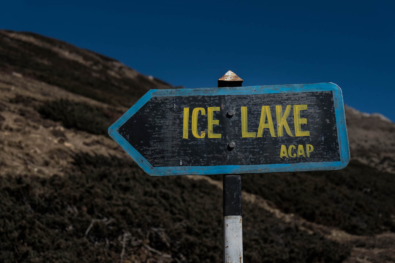 Going to the ice lake while hiking the Annapurna Circuit