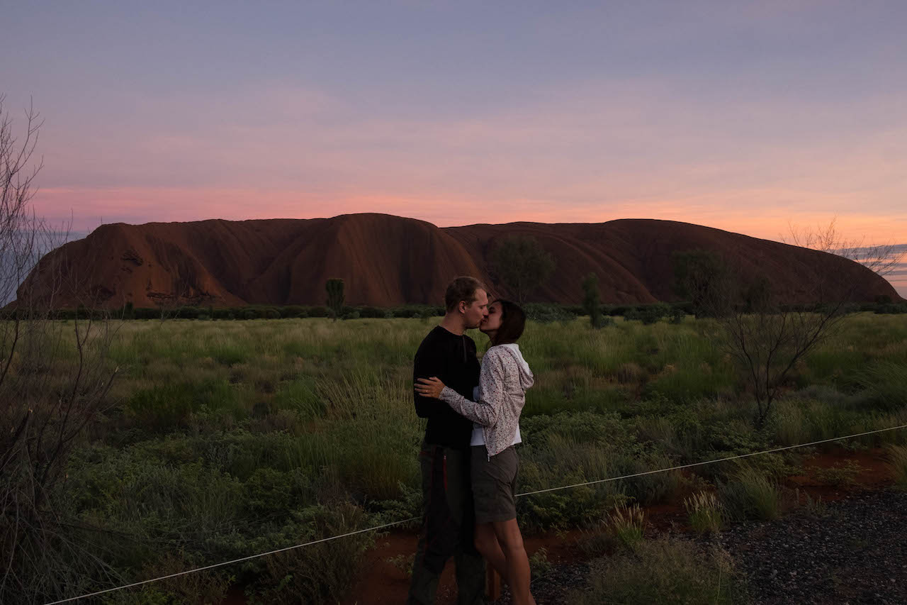 Sunrise at Uluru was a great moment on our outback roadtrip.