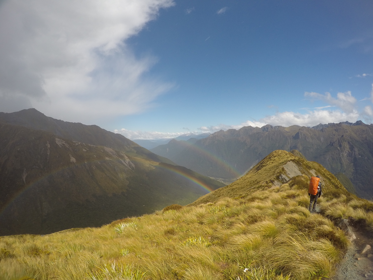 After rain pelting us sideways on the Kepler Track there was a brief respite where we got a double rainbow